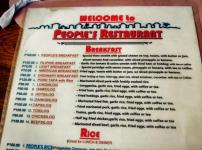 price list of menu of people's restaurant